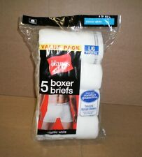New Men's Hanes Value Pack 5 Boxer Briefs Classic White  Size Large ( 36-38)