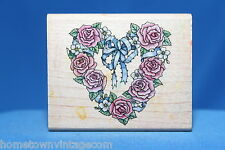 Roses & Bow Romantic Wreath Rubber Stampede Wood & Foam Backed Rubber Stamp