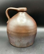 Antique Very Old Primitive Stone Brown Jug Crock, Beehive Shape, Handled, 1.5 q