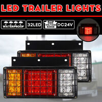 2x 24V 32 LED Trailer Lights Rear Light Truck Caravan Ute Boat Indicator Lamps