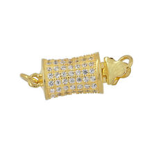 Gold Plated Sterling Silver Pillow 1-Strand CZ Pave Set Pearl Box Clasp #99691