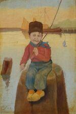 » Angelnder Junge im Hafen « signiert. N.Jacks ?? ~1900