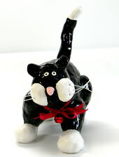 Russ Ceramic Tuxedo Black White Cat Figurine Whimsical Red Bow 8 inches Long