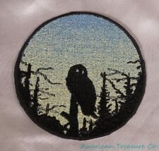 Embroidered Owl In Trees Sunrise Silhouette Ombre Circle Patch Iron On Sew USA