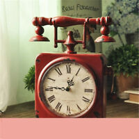 Retro Creative Clock Iron Art Antique Red Table Clock American Home Decoration