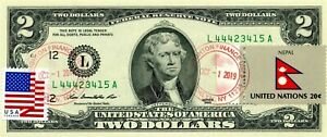 $2 DOLLARS 2013 STAMP CANCEL POSTAL FLAG FROM NEPAL LUCKY MONEY VALUE $150