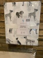 NEW Pottery Barn Kids Organic Decorator Dogs Twin Sheet Set Dog New