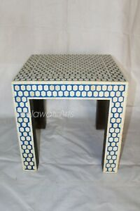 Indian Handmade Luxury Bone Inlay Side Stool Blue