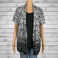 Notations Layered Cardigan Tank Shirt Set LARGE Black White Abstract Dot Print