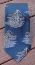 Vintage Pierre Cardin Blue Mechanical Industrial Age Steampunk Poly Tie Necktie