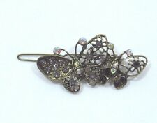 Bejeweled Butterfly Hair barrette antiqued Gold tone Gray Aurora Borealis