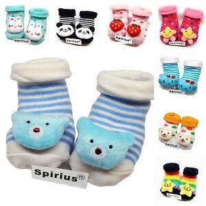 Spirius Baby Jungen Mädchen Socken Booties Indoor Schuhe Hausschuhe Tier Cartoon warm