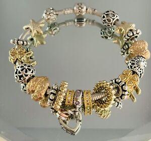 Genuine Pandora Silver Charm Bracelet - 20cm Charms & Clip        #W/10