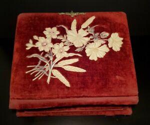 Antique Victorian Red Velvet Celluloid Flowers Jewelry Dresser Box Daisies