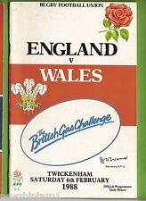 #II.  ENGLAND V  WALES  RUGBY UNION PROGRAM  6/2/1988