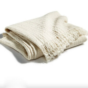 """Hotel Collection Textured Wool Cotton Throw Ivory/Cream Size 50""""x70"""" NWT 360.00"""