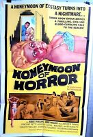 folded poster HONEYMOON OF HORROR 1964 US1sht Robert Parsons Abbey Heller HTF