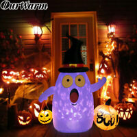 5FT Halloween Inflatables Pumpkin Ghost with LED Light Outdoor Yard Lawn Decor