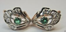 Antique Colombian Emerald Diamond Earrings Vintage 14k Rose Gold E-.40CT D-.30CT