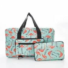 FOLDABLE HOLDALL TRAVEL BAG IN GREEN FLAMINGO PRINT BY ECO CHIC 37524e45ec