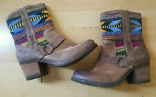 Born Cowboy Boots Indian Blanket Wool Brown Leather Size 9.5 Mid Calf