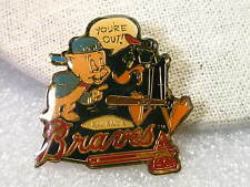 "Vintage ""You're Out"" Atlanta Braves Porky Pig & Daffy Duck Collector PIn"