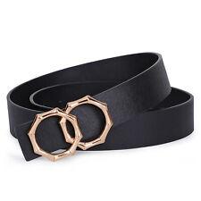 Diseño De Moda Cinturón De Cuero Hebilla Doble O-ring Cintura para Mujeres Vestido De Jeans