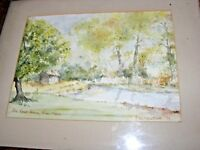 VINTAGe  WATERCOLOUR PAINTING OF THE BOATHOUSE THE RIVER NENE BY A M WESTCOTT