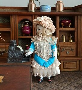 """Silk laces outfit doll dress and bonnet for antique french mignonette doll  7"""""""