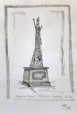 Unikat Mooseart Gemälde Zeichnung Skizze Tusche Architektur ca.21x30cm Original