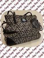 Tommy Hilfiger Large Logo Purse Black & Tan Bag Tote Handbag Worldwide Shipping