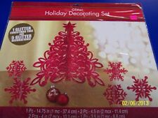 Glitter Holiday Decorating Kit Red Tree Snowflake Christmas Party Decoration