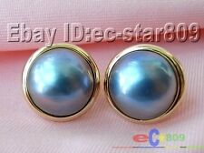p797 HUGE 20MM BLUE SOUTH SEA MABE PEARL EARRING