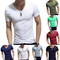 New Men V-Neck Gym Sports Short Sleeve T-Shirt Slim Fit Muscle Tee Tops Casual