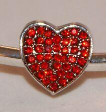 RED CRYSTAL RHINESTONE LOVE HEART Silver European Charm Valentines Day