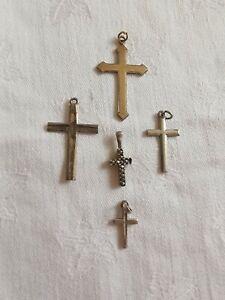 5 x Sterling Silver Vintage Cross Pendants