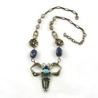Gerard Yosca Butterfly Pendant Necklace Brass Tone Rhinestones
