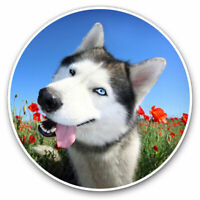 2 x Vinyl Stickers 7.5cm - Happy Husky Malamute Wolf Dog Cool Gift #15883