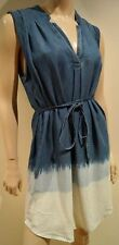 SPLENDID Chambray Blue Ombre Tyocell Denim V Neck Sleeveless Belted Casual Dress
