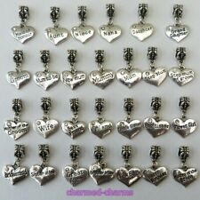 ONE Antique Silver Tone Rhinestone Inscribed Heart Bridal & Family Dangle Charm
