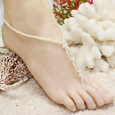 2Pc Pearl Beads Barefoot Beach Sandals Wedding Anklet Toe Foot Jewelry