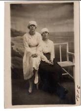 RPPC real photo two attractive young teens women fashion beach ocean backdrop