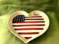AMERICAN FLAG HEART POTTERY BOWL Hand Painted 10x10 Heavy VGUC FREE SHIP!