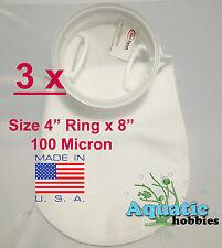 "3x Filter Sock 4"" Ring x 8"" 100 Micron Felt Polypropylene Quality PecoFacet"