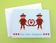 You Me Awesome Sock Monkey Love Greeting Card Cute I Love You Plus Passion Cute