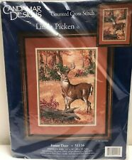 """CANDAMAR DESIGNS """"1998"""" COUNTED CROSS STITCH KIT FOREST DEER UNOPENED PACKAGE"""