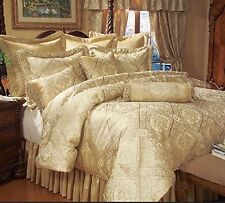 Luxury Gold Print 9-piece Imperial Comforter Set, Bedroom Furnishings Gold New.