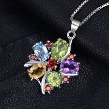 3.2ct Genuine Amethyst Garnet Peridot Topaz Pendant Necklace Sterling Silver