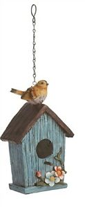 """BIRDHOUSE Resin Birdhouse with Peg and Hanging Chain-8"""" high Blue w/ Brown Roof"""
