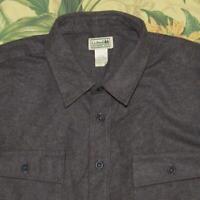 Mens LL BEAN Gray Longsleeve Flannel Chamois Cloth Shirt 2XL XXL Tall